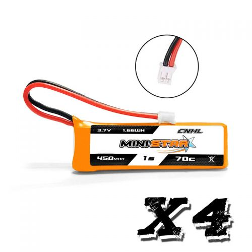 (4 pack) CNHL MiniStar 450mAh 3.7V 1S 70C Lipo Battery With PH 2.0 for EMAX TinyHawk
