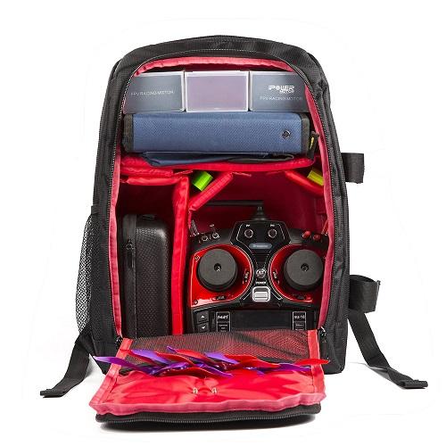 Morral FPV Racing  44x31x18mm con protector para la lluvia( negro y rojo)